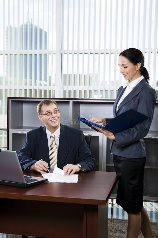 Secretaresse en werkgever royalty-vrije stock fotografie