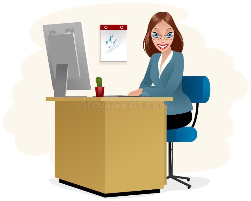 Secretaresse op het werk stock illustratie