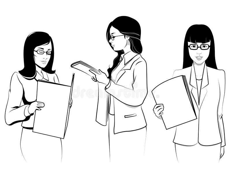 Secretaria asiática en el ejemplo del carácter de la oficina stock de ilustración