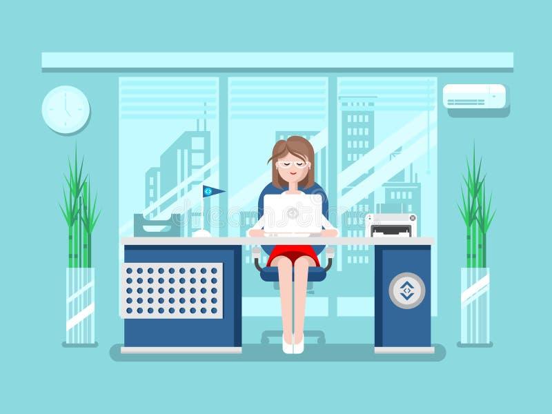 Secretaria en oficina stock de ilustración