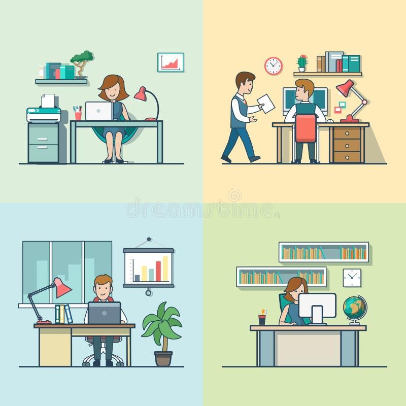 Secretaria plana linear, encargado, contable libre illustration