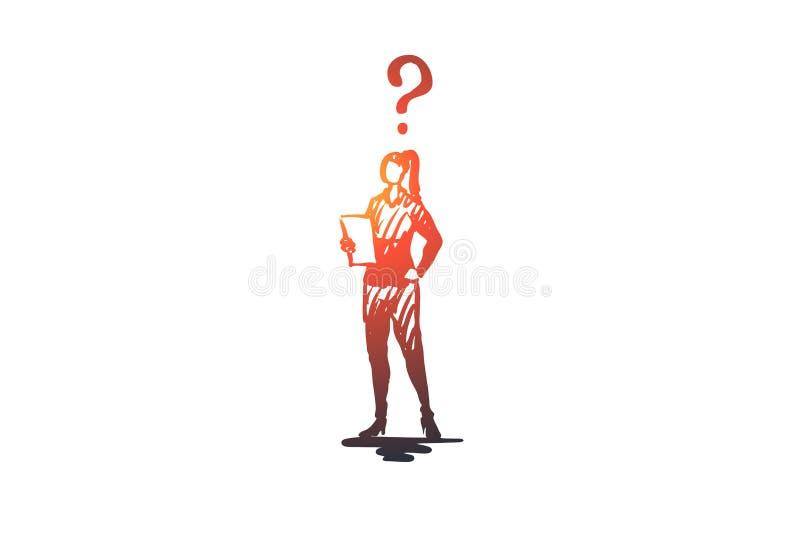 Secretaria, trabajo, oficina, mujer, concepto ocupado Vector aislado dibujado mano stock de ilustración