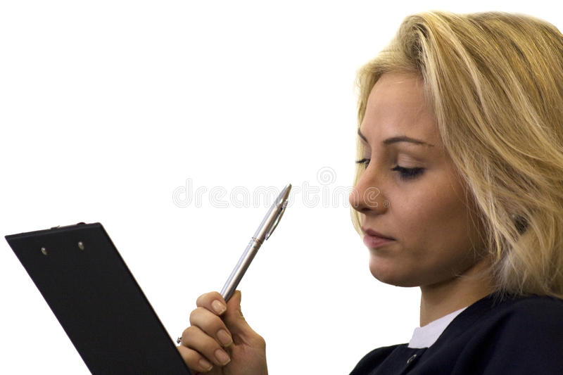 Secretary. Taking notes, isolated on a white background stock images