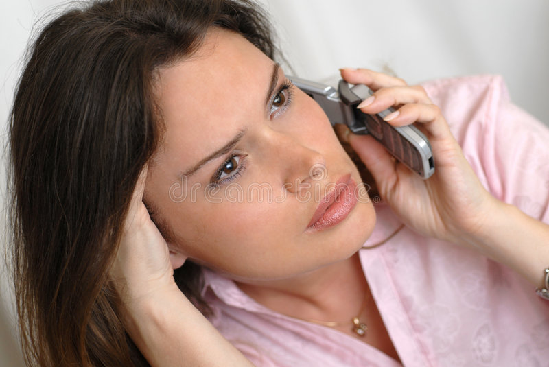 Secretary answering a call stock photo