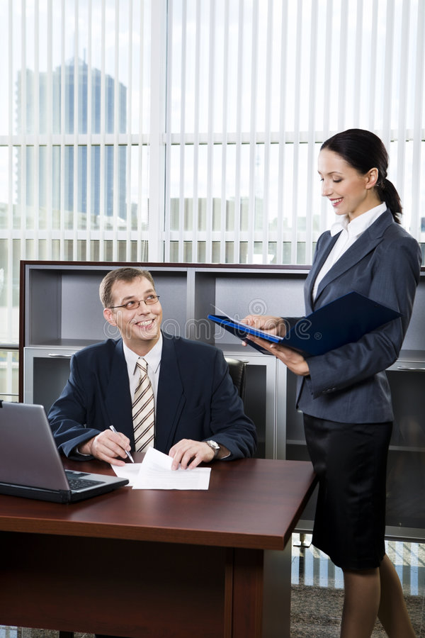 Secretary and boss royalty free stock photography