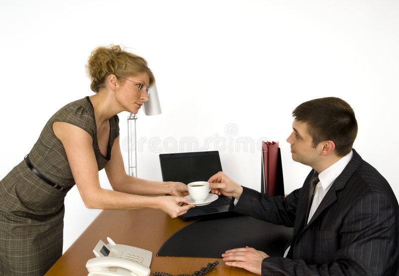 Download Secretary and boss. stock photo. Image of lamp, office - 5605606