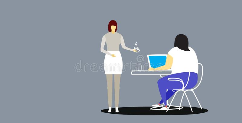 Secretary bringing coffee to fat obese businesswoman boss sitting at workplace desk using laptop professional vector illustration