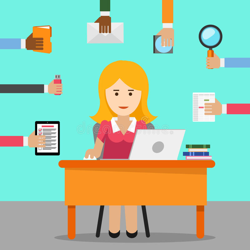 Secretary. Busy Woman For Office Work Stock Vector ...