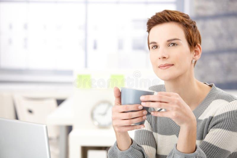 Secretary on coffee break
