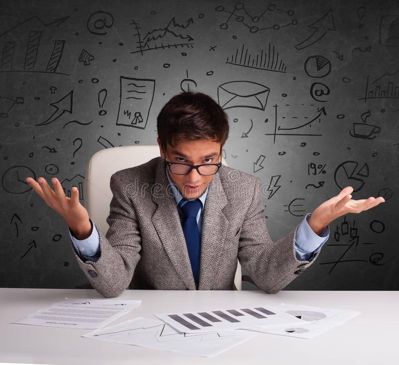 Secretary with doodle multitask concept stock images