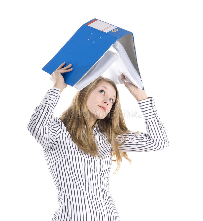 Secretary with file stock image