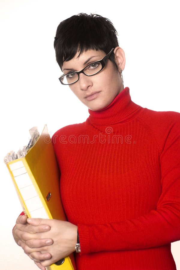 Secretary with files stock images