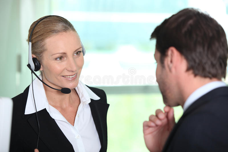 Download Secretary Giving Information To Boss Stock Image - Image: 22449407
