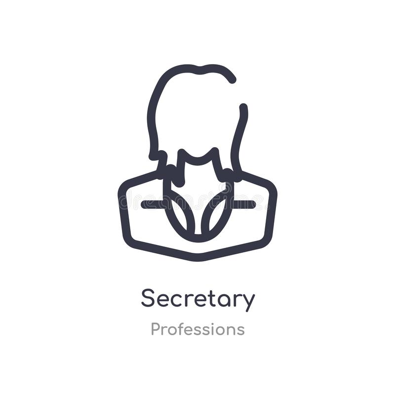 secretary outline icon. isolated line vector illustration from professions collection. editable thin stroke secretary icon on vector illustration
