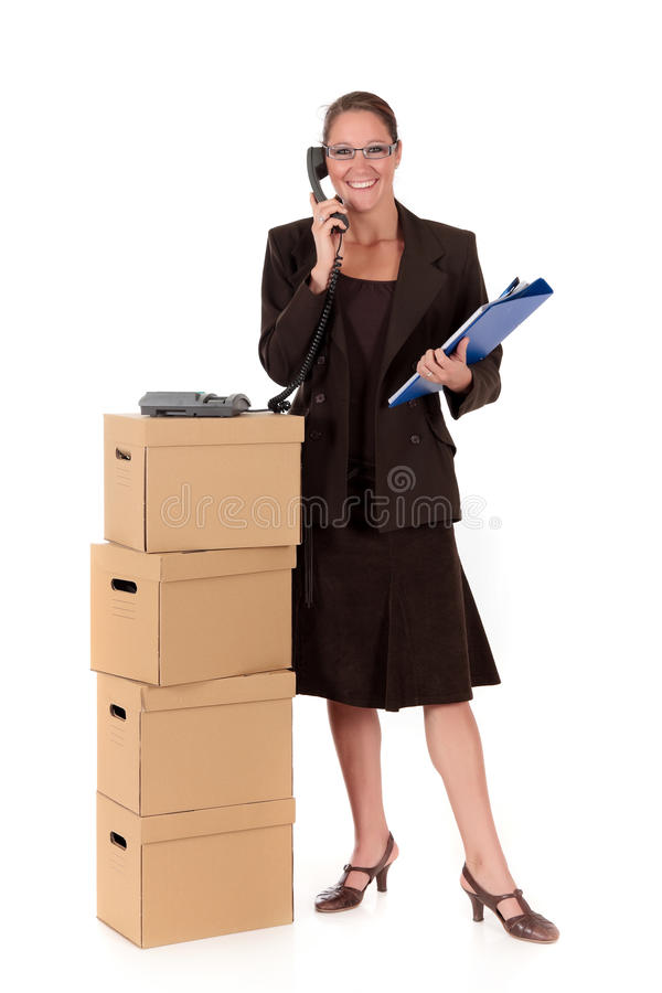 Secretary Postal  Package Telephone Stock Photos