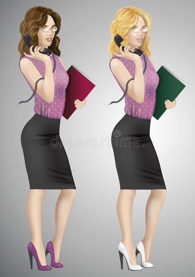 Secretary, receptionist with phone royalty free stock images