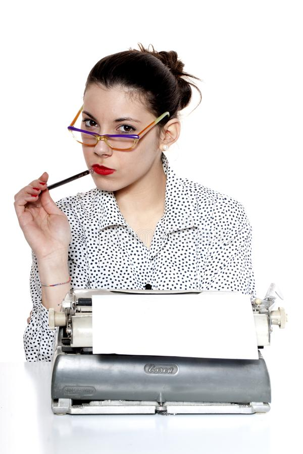 Secretary thoughtful with glasses stock photos
