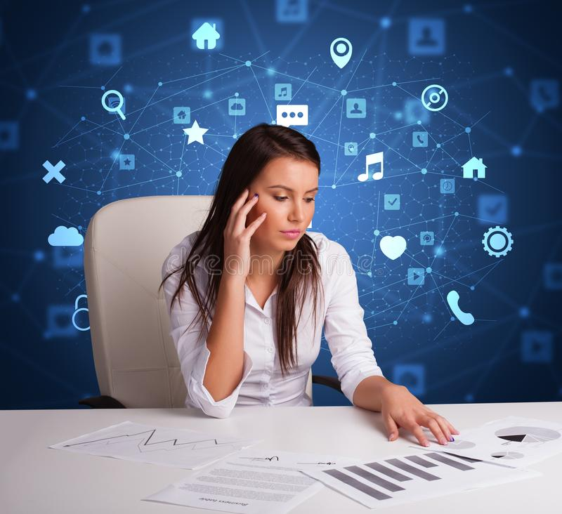 Secretary work with multitask concept stock image