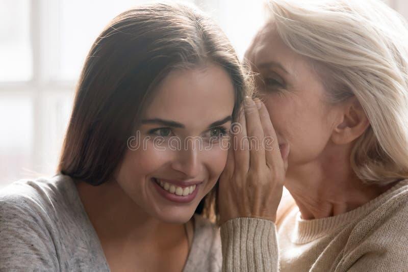 Secreto susurrante envejecido medio de la madre crecida a la hija imágenes de archivo libres de regalías