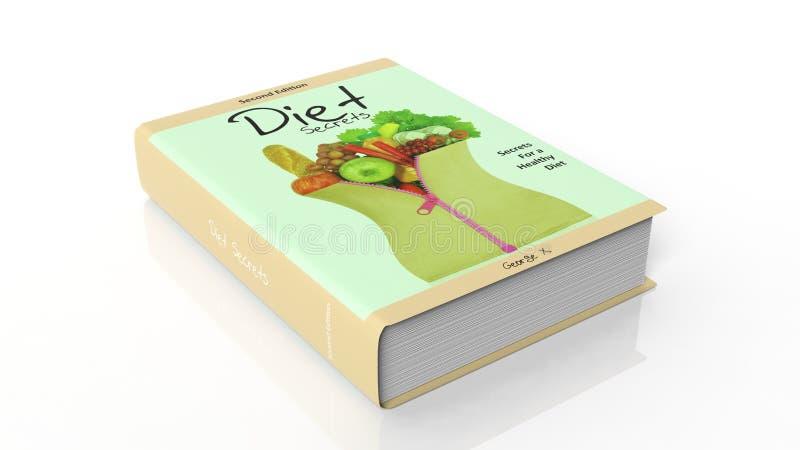Secretos de la dieta del libro de tapa dura con el ejemplo en la cubierta stock de ilustración