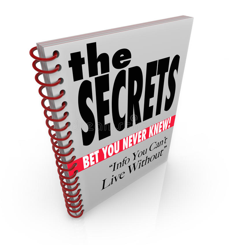 The Secrets Book Revealed Information Knowledge. A spiral bound book with headlines reading The Secrets - Bet You Never Knew, and Info You Can't Live Without, a vector illustration