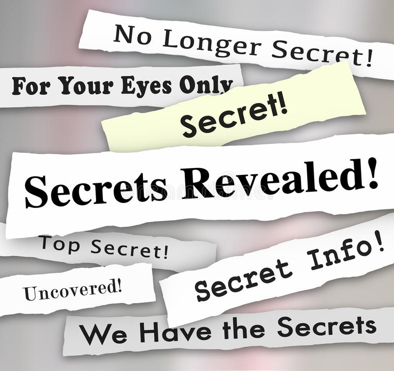 Secrets Revealed Headlines Classified Confidential Info. Secrets Revealed words on newspaper headlines to illustrate a confidential or classified announcement royalty free stock image