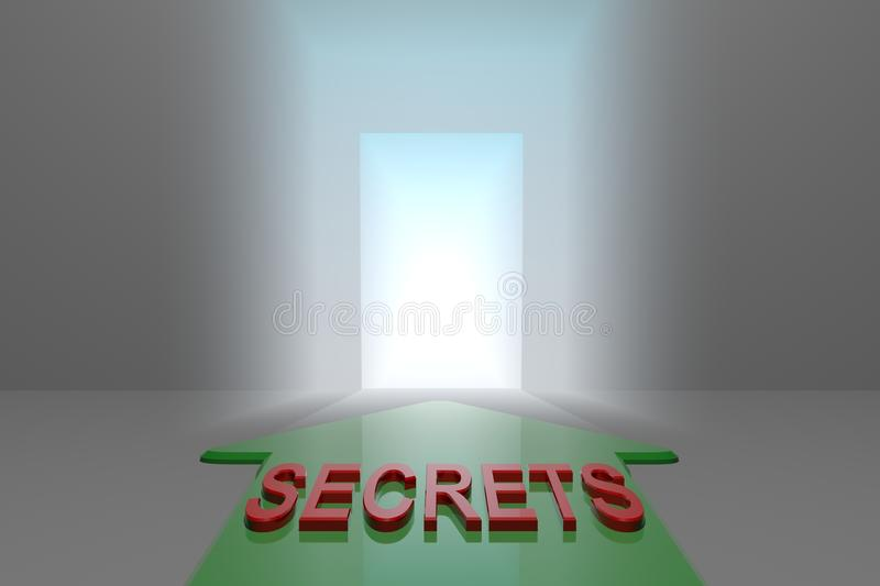 Secrets to the open gate. Green arrow with secrets word front of the open gate , 3d rendered royalty free illustration