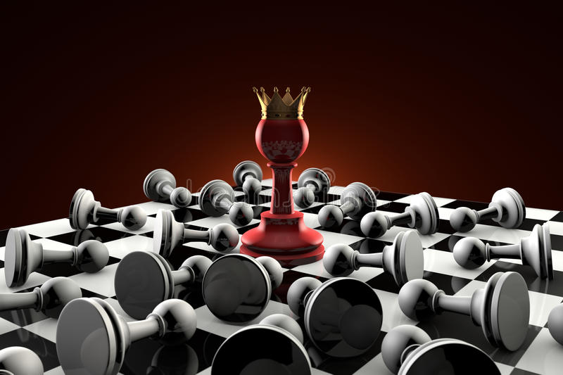 Sect (secret society). Chess metaphor. The dramatic art of chess composition. Red pawn queen in the center of the composition. Many gray obedient pawns stock illustration