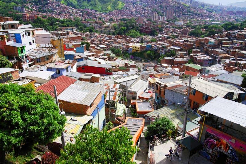 Secteur célèbre 13 de Medellin, vue de la colline photo libre de droits