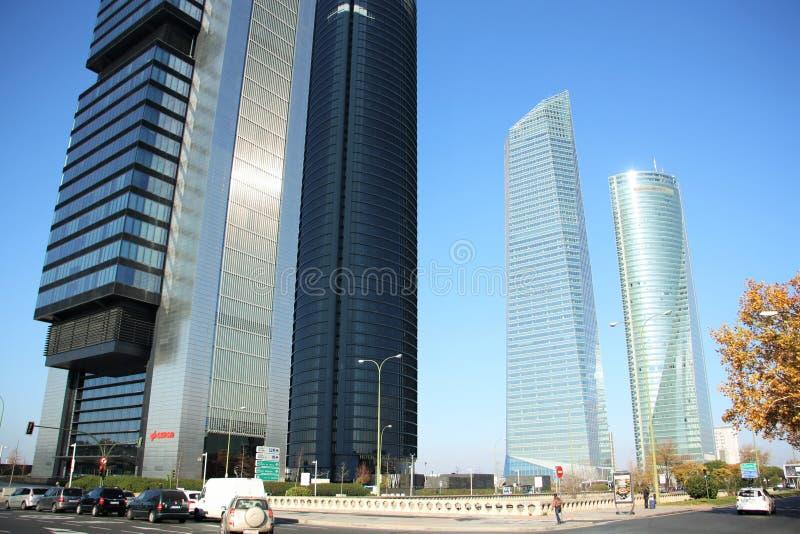 Secteur d'activité de Cuatro Torres à Madrid, Espagne images stock