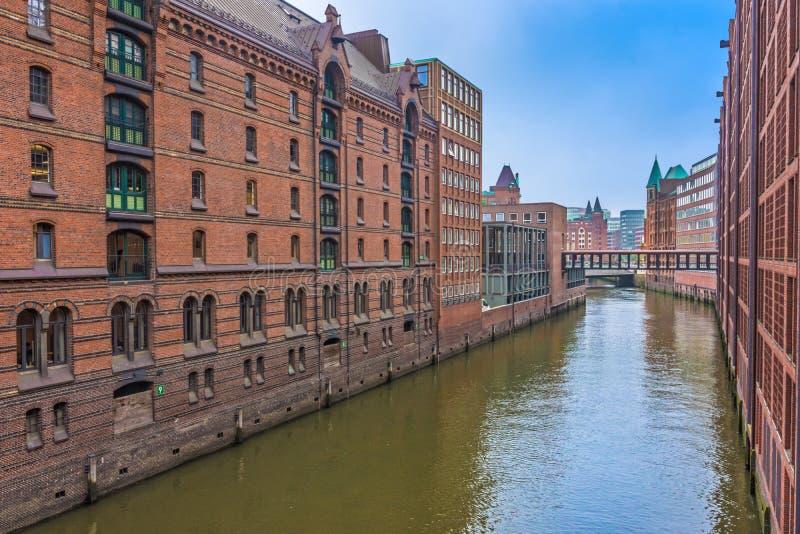 Secteur d'entrepôt de Speicherstadt, Hambourg, Allemagne photo stock