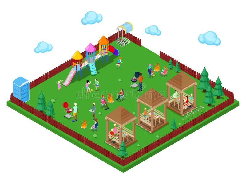 Secteur de BBQ de gril de famille dans la forêt avec le terrain de jeu d'enfants et les personnes actives faisant cuire la viande illustration libre de droits