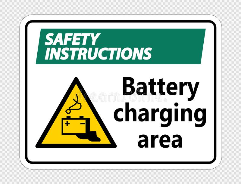 secteur de chargement de batterie d'instructions de sécurité de symbole se connecter le fond transparent illustration stock
