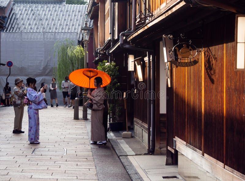 Secteur de geisha de chaya de Higashi vieux à Kanazawa photo libre de droits