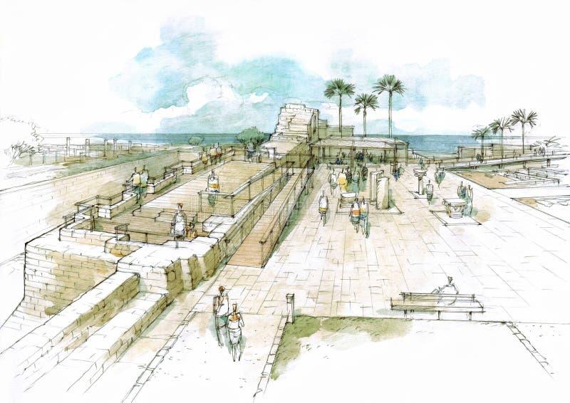 secteur du parc archéologique illustration libre de droits