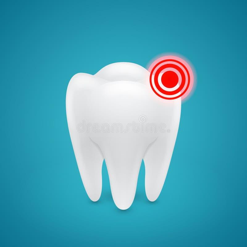 Secteur endolori sur les dents humaines illustration stock