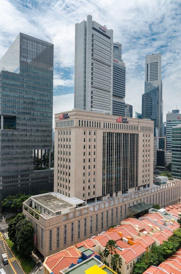 Secteur financier de Singapour comme vu de Chinatown photo stock