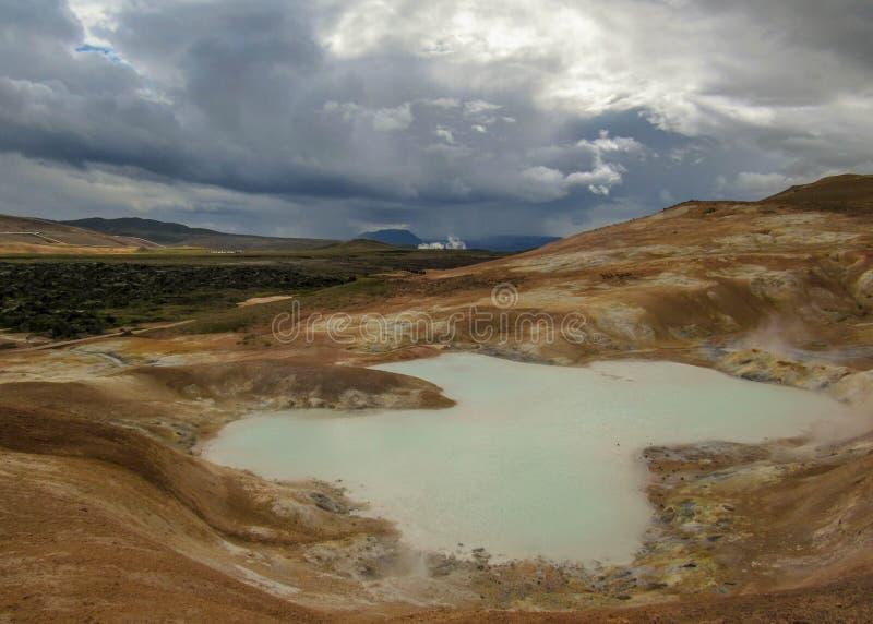 Secteur géothermique coloré de Leirhnjukur dans la région de Krafla près du lac Myvatn, Islande du nord, l'Europe photographie stock