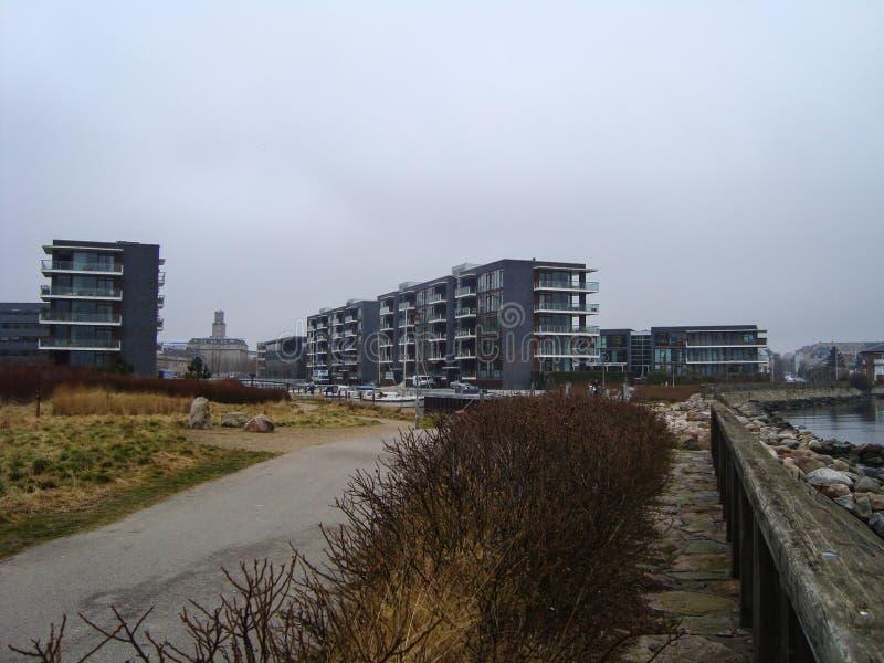 Secteur résidentiel de port à Copenhague Danemark image stock