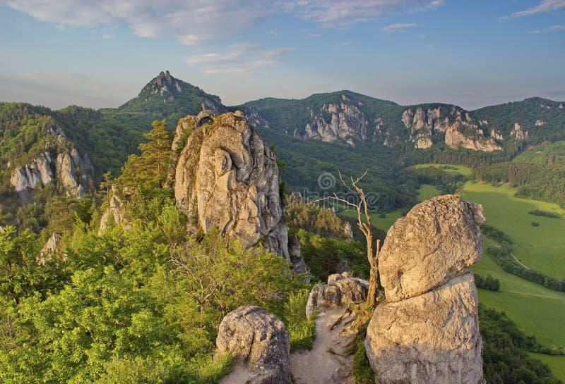 Secteur rocheux impressionnant et peu commun à la lumière de la soirée d'été, Slovaquie photo libre de droits