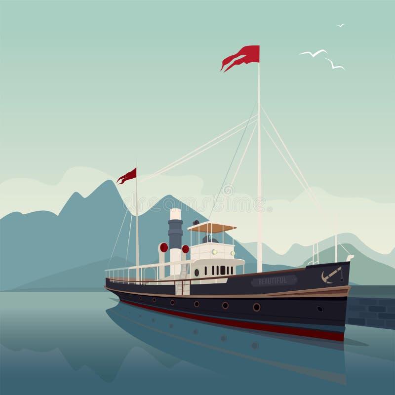 Secteur scénique avec le vieux bateau au pilier le temps clair illustration de vecteur