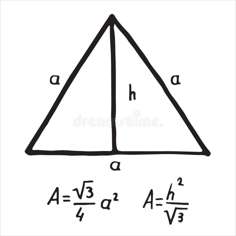Secteur tiré par la main de triangle équilaterale Croquis pour l'éducation, icône illustration libre de droits