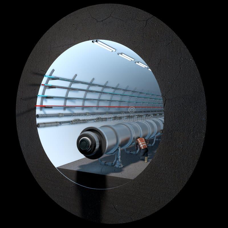 Sectie van de Cern tunnel Europese Organisatie voor Kernonderzoek vector illustratie
