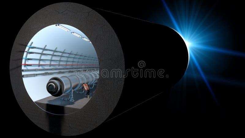 Sectie van de Cern tunnel Europese Organisatie voor Kernonderzoek stock illustratie