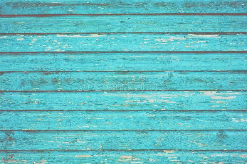 Sectie van turkoois blauw hout die van een hut van het kuststrand met panelen bekleden royalty-vrije stock foto's