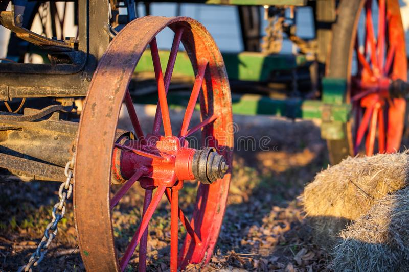 Section of antique wagon with accent on metal wheels stock image