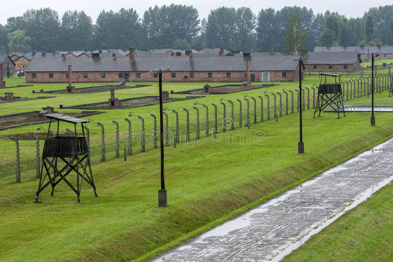 A section of the Auschwitz-Birkenau Concentration Camp at Oswiecim in Poland. A section of the Auschwitz-Birkenau Concentration Camp in Poland showing the brick stock photo