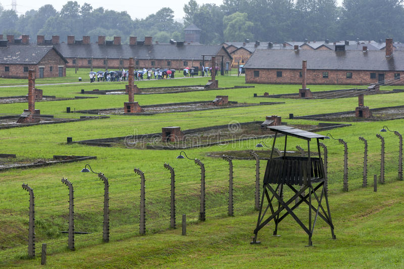 A section of the Auschwitz-Birkenau Concentration Camp at Oswiecim in Poland. A section of the Auschwitz-Birkenau Concentration Camp in Poland showing the brick royalty free stock images