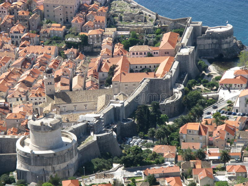 A section of the city wall in Dubrovnik royalty free stock photography