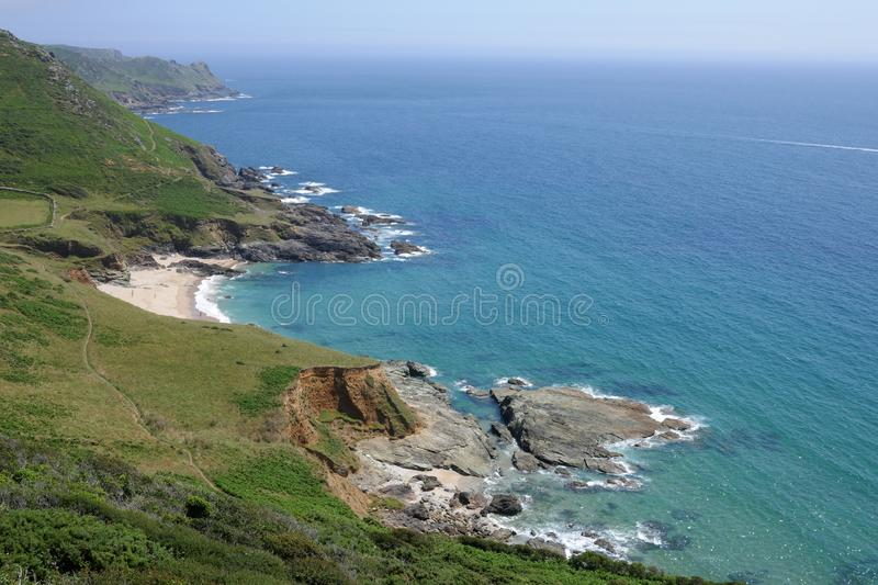 Coastal Path, South Devon. This is a section of the coastal path between East Portlemouth and Gara Rock near Salcombe in Devon, southern England, UK royalty free stock photo